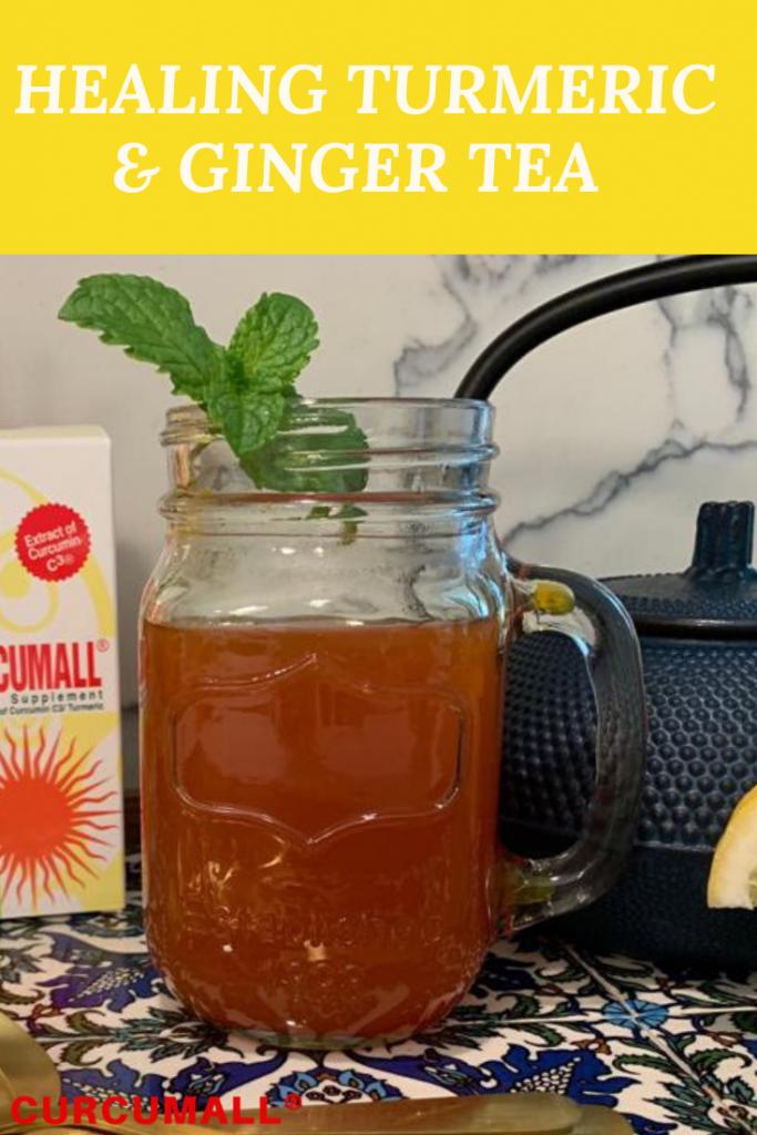 Healing turmeric ginger tea. Tea with anti-inflammatory, antioxidant, anti-microbial properties.